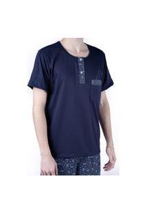 Pijama Masculino Curto Blusa Com Bolso E Botão Shorts Verão - Azul Marinho