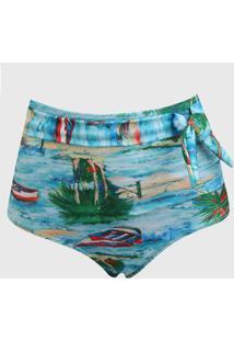 Calcinha Banho De Mar Moda Praia Hot Pant Barcos Azul/Verde