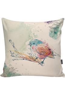 Capa De Almofada One Bird- Bege & Azul Claro- 45X45Cstm Home
