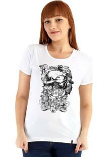 Baby Look Ouroboros Manga Curta Skull Style - Feminino-Branco