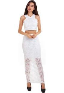 Blusa Kinara Cropped Renda Feminina - Feminino-Branco
