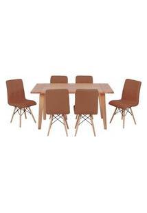 Conjunto Mesa De Jantar Em Madeira 150X80 Vértice + 6 Cadeiras Gomos - Marrom