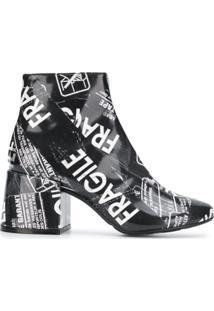Mm6 Maison Margiela Ankle Boot 'Fragile' De Couro - Preto