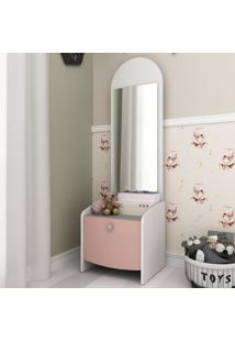 Mesa De Cabeceira 100% Mdf Com 1 Gaveta E Espelho Doçura Multimóveis Branco/Cinza/Rosa