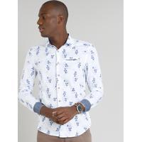 63788d75d Camisa Masculina Slim Estampada Floral Com Bolso Manga Longa Branca