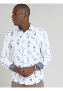 Camisa Masculina Slim Estampada Floral Com Bolso Manga Longa Branca