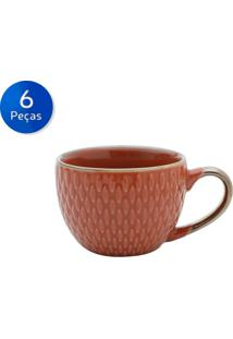 Conjunto De Xícaras Para Café 6 Peças 90 Ml 27608-Bon Gourmet - Laranja