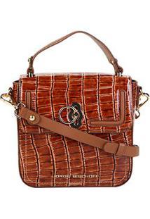 Bolsa Couro Jorge Bischoff Handbag Estruturada Croco Verniz Feminina - Feminino-Marrom Claro