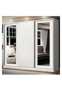 Guarda-Roupa Casal Madesa Eros 3 Portas De Correr Com Espelhos - Branco Branco