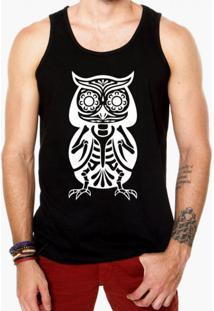 Camiseta Regata Criativa Urbana Caveira Coruja Mexicana Preta
