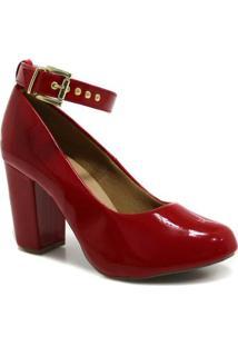 Scarpin Zariff Shoes Verniz Fivela - Feminino-Vermelho