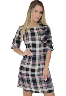 9fe5c9e7741bf Ir para a loja  -31% Vestido Mamorena Xadrez Com Bolsinho Cinza