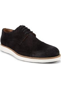 Sapato Masculino Com Recortes E Perfuros Couro Camurça Preto