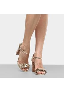 60a6f6d9d ... Sandália Couro Shoestock Salto Grosso Flores Feminina - Feminino