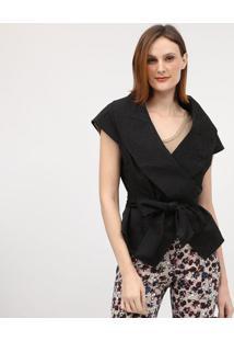 Casaco Texturizado Com Faixa - Preto - Cotton Colorscotton Colors Extra
