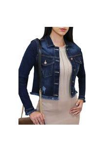 Jaqueta Jeans Feminina Cropped Frozini Stone Used Azul Escuro