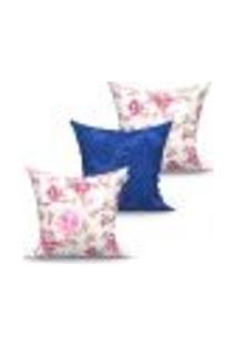 Conjunto De Capas Para Almofada Com 3 Peças Floratta Medalhão Azul E Rosa 45X45 Cm