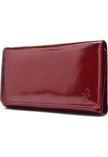 Carteira De Couro Maior Hendy Bag Fechado Veriz Feminina - Feminino-Vermelho Escuro