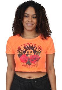 Camiseta Kings Sneakers Cropped Floral Laranja Neon - Laranja - Feminino - Dafiti