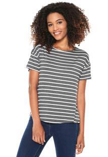 Camiseta Lunender Listrada Cinza/Branca
