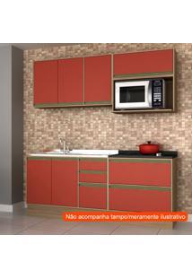 Cozinha Compacta Safira 6 Pt 5 Gv Vermelha E Avelã
