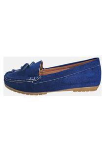 Sapatilha Mocassim Moda Pé Costurado À Mão Conforto Cor Azul Royal