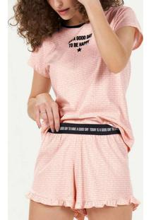 Pijama Feminino Curto Cor Com Amor 12757 Laranja/P
