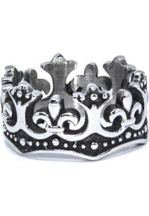 Anel Empório Top De Aço Inox Coroa Rei Prata