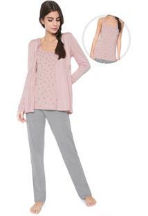 Pijama Any Any Raissa Rosa/Cinza