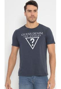 Camiseta Com Logo Texturizado- Azul Escuro & Branca-Guess
