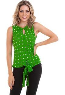 Blusa Regata Crepe Amarração Feminino - Feminino-Verde