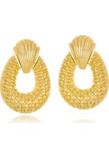 Brinco Le Diamond Concha E Textura Dourado