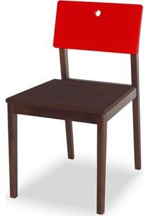 Cadeira Flip Cacau E Vermelho