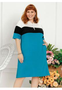 Vestido Plus Size Tricolor Com Capuz E Fenda