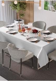 Toalha De Mesa Teka Champanhe Rosê 150Cm X 150Cm 6 Lugares Branca