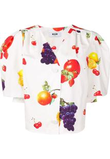 Msgm Fruit Print Blouse - Branco