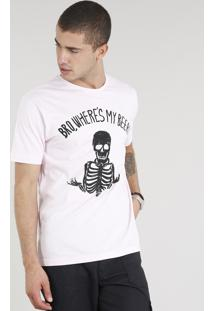 Camiseta Masculina Esqueleto Manga Curta Gola Careca Rosa Claro