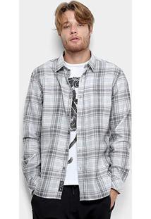 Camisa Xadrez Manga Longa Ellus Storm Wool Touch Masculina - Masculino-Cinza