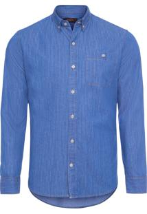 Camisa Masculina Jeans Listrado - Azul