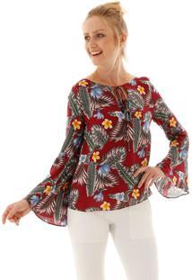 Blusa Aha Decote V Viscose Floral Bordô