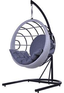 Poltrona De Balanco Bowl Em Aluminio Revestido Em Corda Cor Azul Com Suporte De Chao - 45214 - Sun House