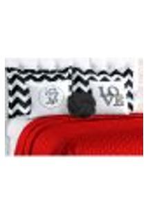 Kit Cobre Leito Vermelho Clássico 8 Peças Queen Size Com Porta Travesseiro E Almofada Decorativa