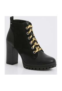Bota Feminina Ankle Boot Tratorada Salto Alto Dakota
