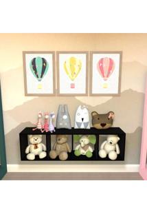 Nicho Cubo Com 3 Prateleiras Ciati Kit Cubos Baby Bramov Móveis Preto