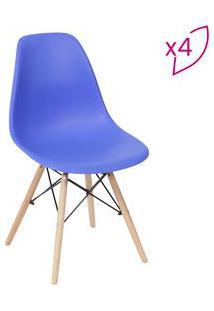 Or Design Jogo De Cadeiras Eames Dkr Azul Escuro & Madeira 4Pã§S