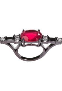 Anel Soco Inglês The Ring Boutique Pedra Cristal Vermelho Rubi Ródio Negro