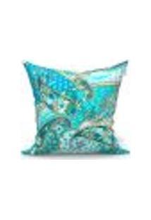 Capa De Almofada Decorativa Azul Arabesco 45Cm X 45Cm 1 Unidade