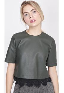 Blusa Lisa Com Renda - Verde Escuro & Pretapop Up