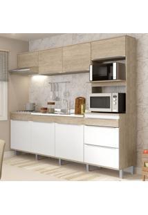 Cozinha Compacta 7 Portas Com Pés Cs673P Acácia/Branco - Decibal Móveis