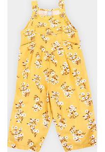 Macacão Hering Viscose Estampado Feminino - Feminino-Amarelo